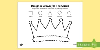 Design a Crown for The Queen Activity Sheet - Worksheet, The queen's birthday, mathematics, numeracy, maths, shapes, 2D shapes, patterns, foundat