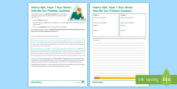 AQA GCSE Buzz Words Template: Describe Two Problems Editable Activity Sheet - Exam practice, Papers, Revision, Paper 1, Question 4