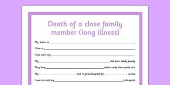 Social Situation Sheet Death of a Close Family Member Long Illness - social story, death, family member, long illness