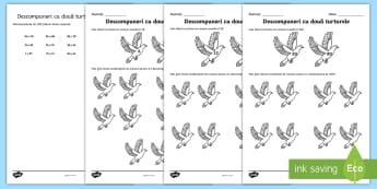 Doi porumbei Fișă de activitate - crăciun, matematică, descompuneri, exerciții, adunări, adunare, descompunerea, Romanian