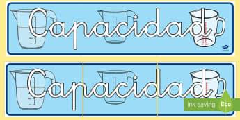 Pancarta: Capacidad - medida, capacidad, mates, medir medida, medir capacidad, lleno, vacio, decoración, decorar, exponer