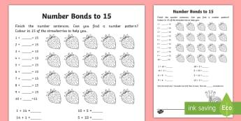 Number Bonds Within 20: Bonds to 15 Worksheet / Activity Sheet - NI, KS1, Numeracy, number bonds within 20, addition, Worksheet, mental maths, homework, home learnin
