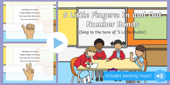 5 Little Fingers In and Out Number Bonds Song PowerPoint - early concepts, in, out, counting, singing, song time, maths, number song.