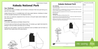 Australian States and Territories – Kakadu Special Features Proposal Activity Sheet - Year 3, ACHASSK066, geography, Australian curriculum, conservation, Northern Territory, lesson, rese