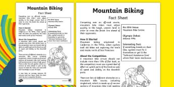 Rio 2016 Olympics Mountain Biking Fact Sheet - rio 2016, rio olympics, 2016 olympics, mountain biking, fact sheet