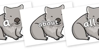 100 High Frequency Words on Wombat - High frequency words, hfw, DfES Letters and Sounds, Letters and Sounds, display words
