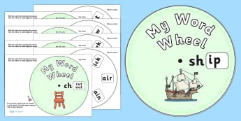 Initial Sound Word Wheels sh, ch and th - initial sound word wheels sh, ch, th, initial sound, sounds, initial, word wheels, words, wheels, sh, ch, th, sh, ch, th, beginning, Phoncs, Digraph, word wheel, DfES Letters and Sounds, Letters and Sounds, w
