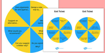 KS3 Blooms Taxonomy Question Wheel Create and Evaluate Exit Wheel - ks3, blooms taxonomy, question wheel