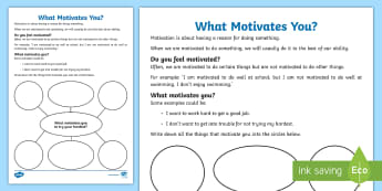 What Motivates You? Activity Sheet - young people, emotions, ambition, inspiration, behaviour, worksheet, mind map