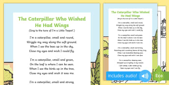 The Caterpillar Who Wished He Had Wings Song - The Crunching Munching Caterpillar, Sheridan Cain, life cycle of a butterfly, flying, bird, butterfl