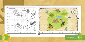 Mapa: Encuentra el tesoro de los piratas - Pirata, piratas, tesoro, tesoros, aventura, aventuras, mar, marítimo, juego, juegos, rol, roles, is