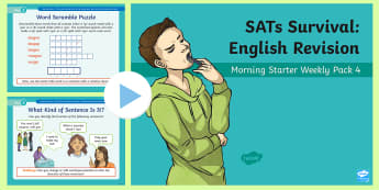 SATs Survival: Year 6 English Revision Morning Starter Weekly PowerPoint Pack 4 - SATs Survival Materials Year 6, SATs, assessment, 2017, English, SPaG, GPS, grammar, punctuation, sp