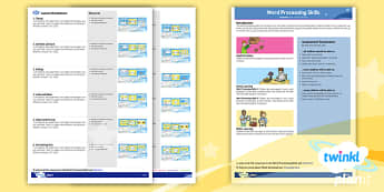 Computing: Microsoft Word Processing Skills Year 1 Planning Overview CfE