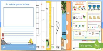 Pacco esercizi estivo Attività - pacco, attività, esercizi, matematica, italiano, giochi, estate, numeri, italian, materiale, scolas