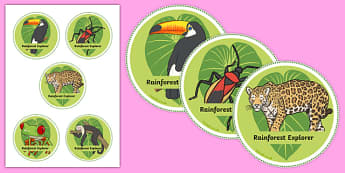 Rainforest Explorer Role Play Badges - rainforest, explorer, role play, badges, label, labels, snake, forest, ecosystem, rain, humid, parrot, monkey, gorilla