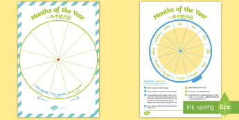 Months of the Year Sequencing Wheel Display Pack English/Mandarin Chinese - Calendar Sequencing, months, year, cycle, sequence, order, date, EAL