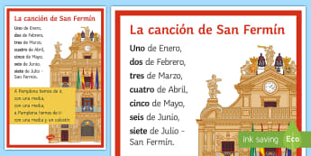 San Fermín Festivities Traditional Song Lyrics Spanish - traditions, culture, Spain, Spanish, KS3, numbers, months, san, fermin, festivities, events