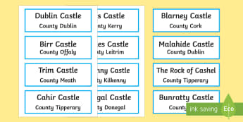 Castles of Ireland Word Cards - ROI Places of Interest, tourism, history, geography, ireland, local studies, castles of Ireland, med