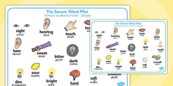 The Senses Word Mat Polish Translation - polish, senses, word mat, word, mat