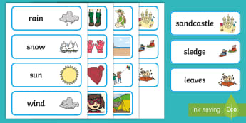 Whatever the Weather Word Cards - exploring my world, sun, rain, wind, snow, seasons, clothes, aistear, literacy, oral langage, readin