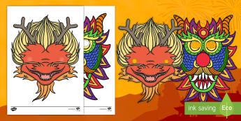 Chinese New Year Dragon Mask - chinese new year, new year, mask