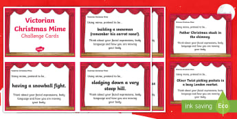 Victorian Christmas Mime Challenge Cards - Drama, games, Party Games, Parlour games, Icebreakers,Scottish