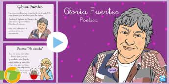 Gloria Fuertes PowerPoint - poesía, Gloria Fuertes, literatura infantil, dibujo, ilustración, poemas, versos, feria del libro.