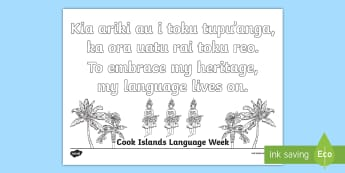 Cook Islands Language Week Colouring Pages Te Reo Māori/English - Cook islands language week, cook islands, language week, colouring pages, Pasifika