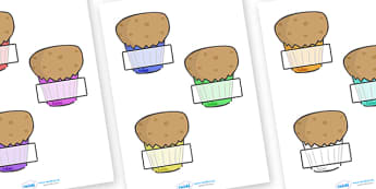 Editable Self-Registration Labels (Muffins) -  Self registration, register, editable, labels, registration, child name label, printable labels, muffins, cakes, baking