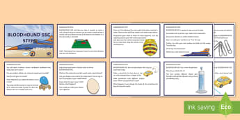 LKS2 BLOODHOUND SSC STEM Challenge Cards English - Bloodhound, SSC, Supersonic, STEM, Challenge, Problem Solving, Problems, Science, Engineering, Techn