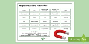 Edexcel Physics Magnetism and the Motor Effect Word Mat - Word Mat, edexcel, gcse, physics, magnet, magnetism, magnetic, motor, motor effect, fleming's left