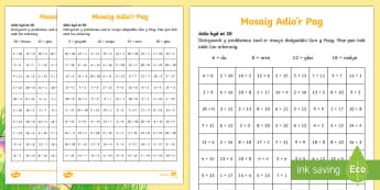 Taflen Adio Mosaig y Pasg - Pasg, Easter, adio, adding, lliwio, colouring in,Welsh