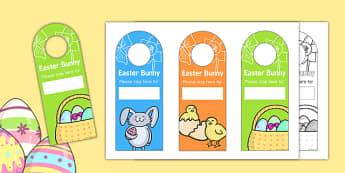 Easter Bunny Please Stop Here Door Hanger - easter, bunny, hanger