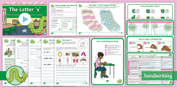 The Journey to Continuous Cursive: The Letter 's' (Curly Caterpillar Family Help Card 5) KS1 Activity Pack - handwriting, Nelson handwriting, penpals, fluent, joined, legible