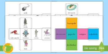 Plantillas de dados: Cuentos - plantilla, hadas, escribir, cuento, narrar, narración, lengua, ,Spanish