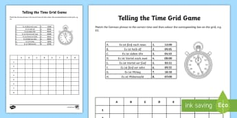 Telling the Time Grid Worksheet / Activity Sheet German - German activities, telling the time, telling the time in German, German time, German clocks, German
