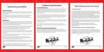 Christmas around the World Comprehension Sheet Polish Translation - reading, festive, questions, topic, ks1, ks2,