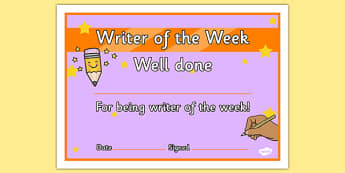 Writer of the Week Award Certificate - certificates, week, writer