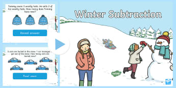 EYFS Winter Themed Subtraction PowerPoint - winter, subtract