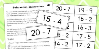 Pelmanism Subtraction Facts Game 11 to 19 Using 1 to 10 - maths