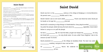 St David's Day Fill in the Blanks Writing Activity Sheet - Dewi Sant (St David's Day 1.3.17), monastery, mynachdy, sanded, prince, tywysog.
