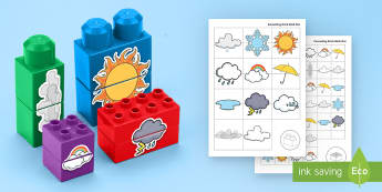 Weather Matching Connecting Bricks Game - EYFS, Early Years, KS1, Connecting Bricks Resources, duplo, lego, plastic bricks, building bricks, w