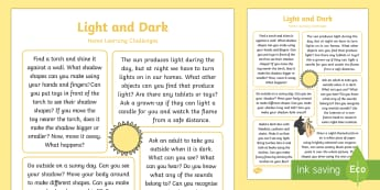 EYFS Light and Dark Home Learning Challenges Reception FS2 - Light and Dark, day, night, nocturnal, diurnal, home learning, homework, parents, carers, home links