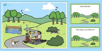 بطاقات مشهد في الجيقة العامة واسئلة - بطاقات، الحديقة، المتنزه