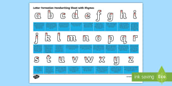 Letter Formation Handwriting Sheet with Rhymes - letter formation, handwriting, hand, write, writing, rhymes