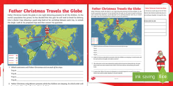 Father Christmas Travels the Globe Activity Sheet - map work, Travel, christmas, time zones, hemispheres, father christmas, continents, Atlas work, worl