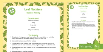 Leaf Necklace Outdoor Activity - EYFS Parks and Gardens, playgrounds, forest school, outdoor learning, outdoor classroom, outside, wo