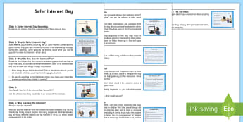 Safer Internet Day Assembly Script - safe, internet safety, powerpoint, assembly, keeping safe, wellbeing, online, internet, computing,