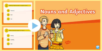 Nouns and Adjectives PowerPoint Game - Nouns, Adjectives, Parts of Speech, Language, English, daily five, ELA, word work