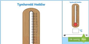 Taflen Tymheredd Heddiw - Tymheredd, Temperature, disgrifio tymheredd,gweithgareddau bob dydd, cymariaethauuniongyrchol, ddisg
